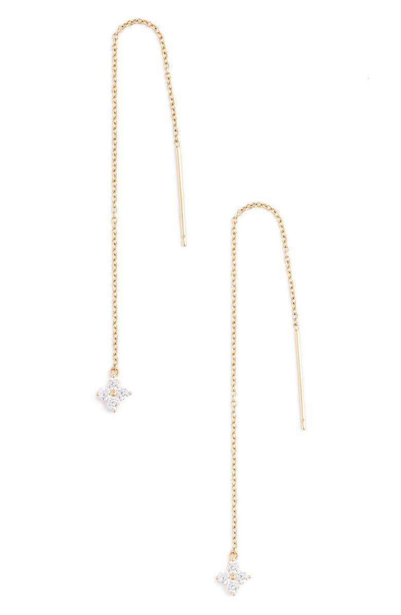 LAFONN Simulated Diamond Threader Earrings, Main, color, 710