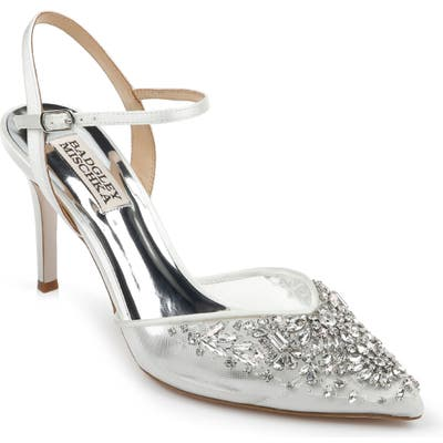 Badgley Mischka Opal Crystal Embellished Pointed Toe Pump, White
