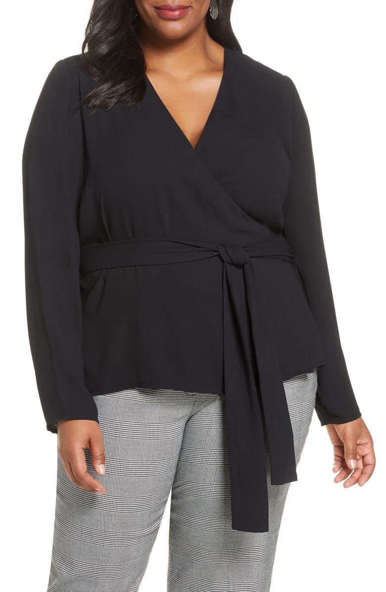 HALOGEN<SUP>®</SUP> Long Sleeve Wrap Blouse, Main, color, BLACK