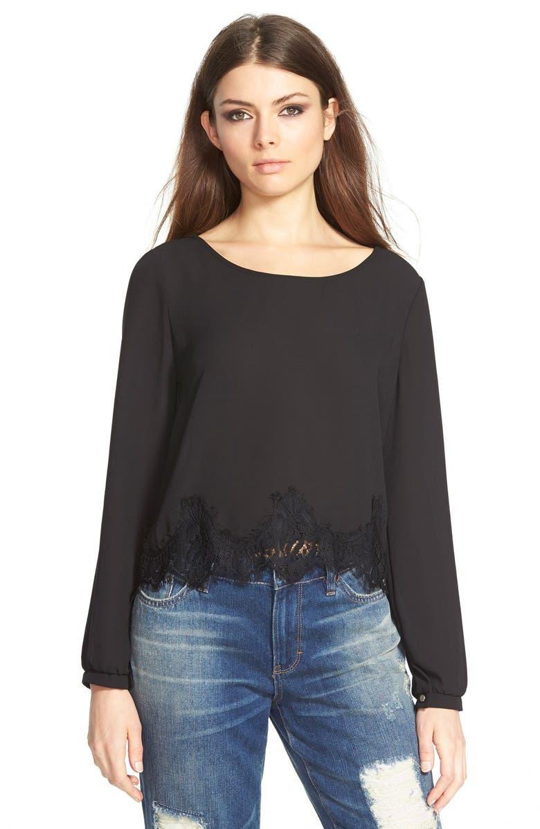 ASTR THE LABEL ASTR Lace Hem Long Sleeve Blouse, Main, color, 001