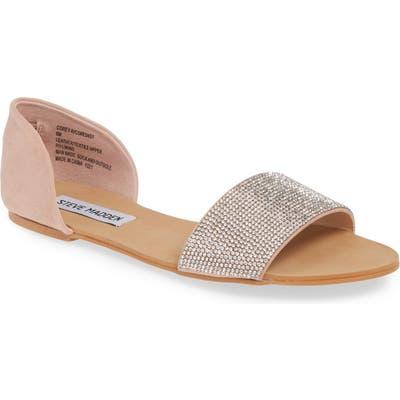 Steve Madden Corey-R Embellished Flat Sandal- Metallic