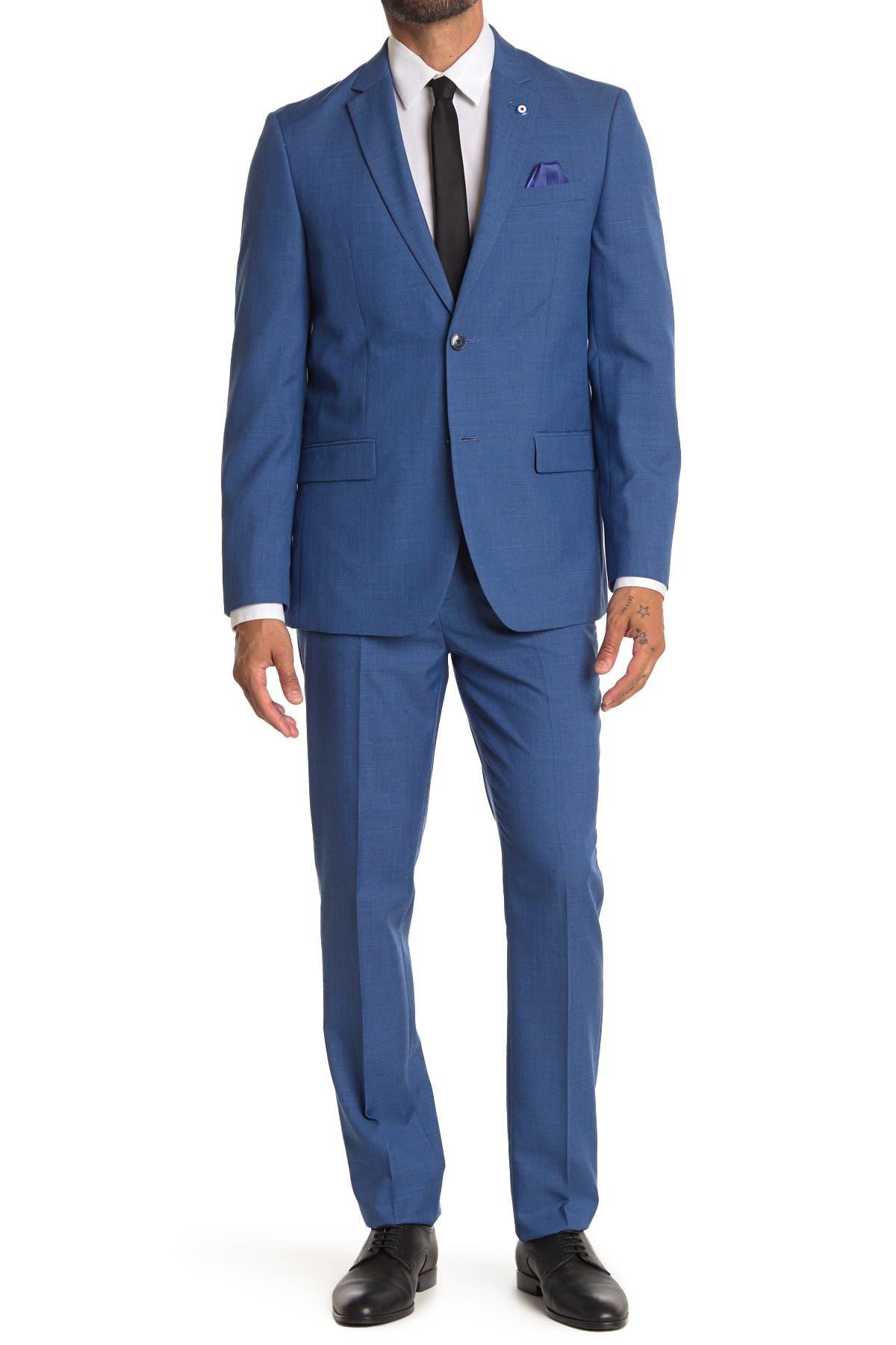 Image of Ben Sherman Blue Sharkskin Slim Fit 2-Piece Suit