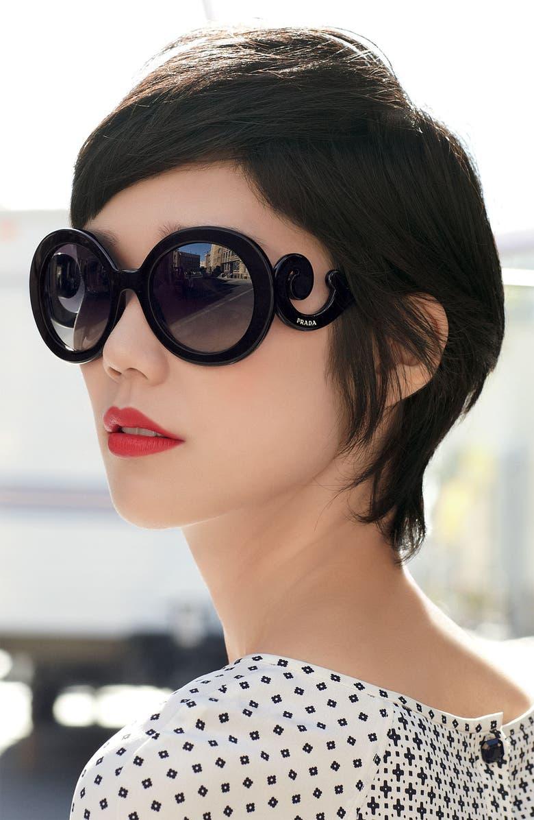 PRADA 'Baroque' 55mm Round Sunglasses, Main, color, 900