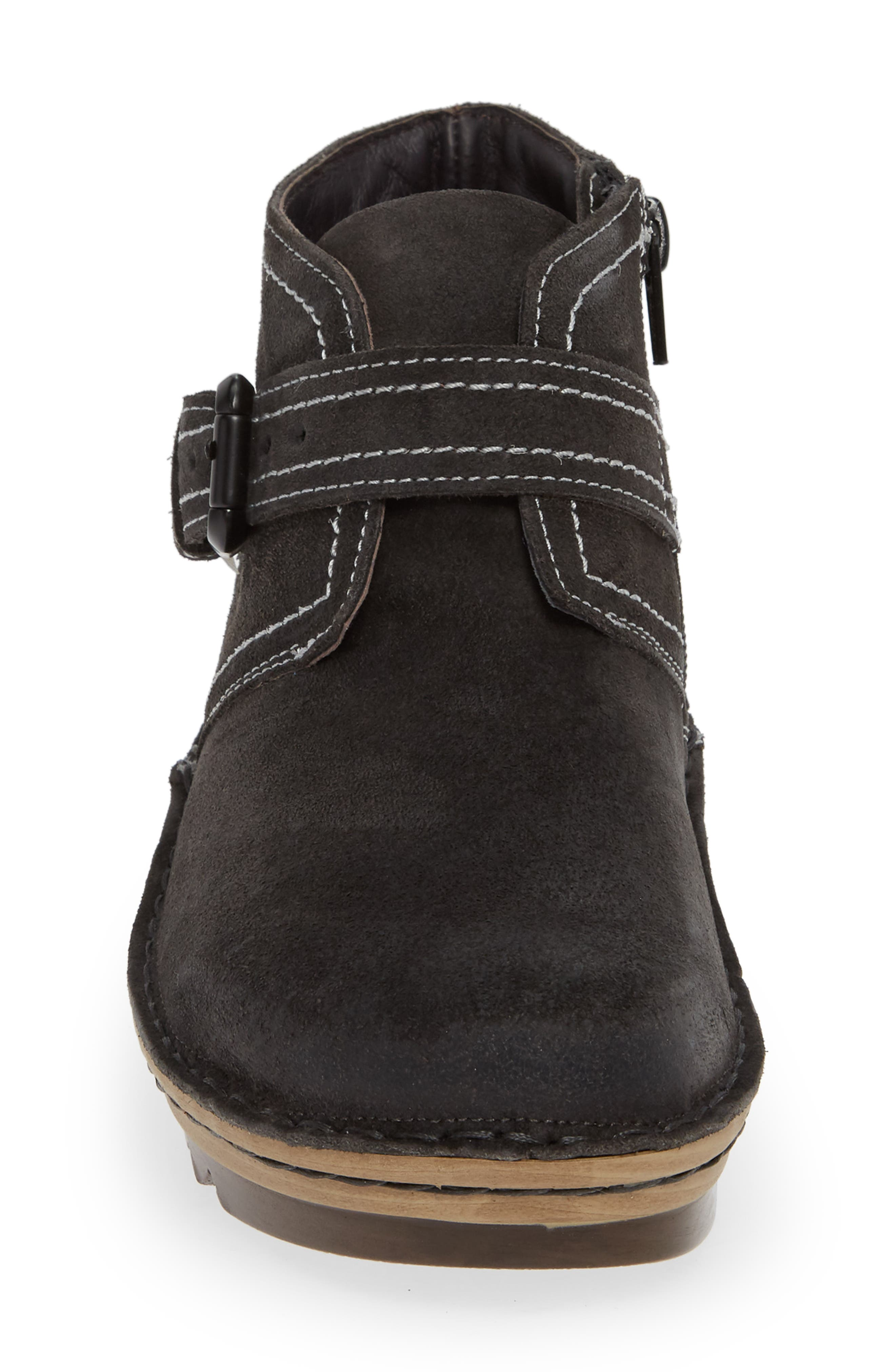 ,                             Louisa Wedge Bootie,                             Alternate thumbnail 4, color,                             OILY MIDNIGHT SUEDE