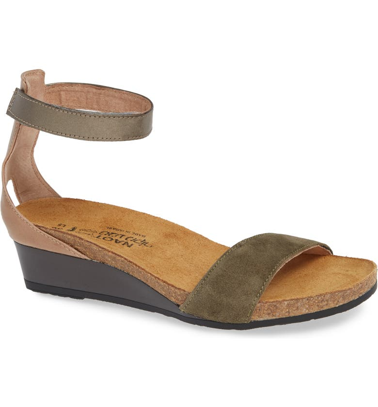 NAOT 'Pixie' Sandal, Main, color, OLIVE SUEDE/ PEWTER LEATHER