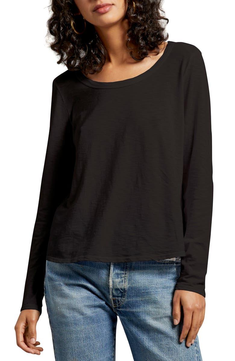 MICHAEL STARS Erica Shirttail Top, Main, color, BLACK