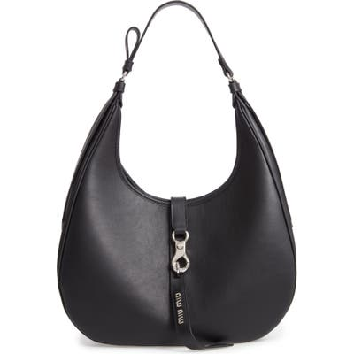 Miu Miu Medium Grace Lux Calfskin Leather Hobo - Black