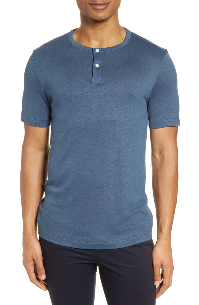 THEORY Gaskell Slim Fit Short Sleeve Henley, Main, color, HYDRO