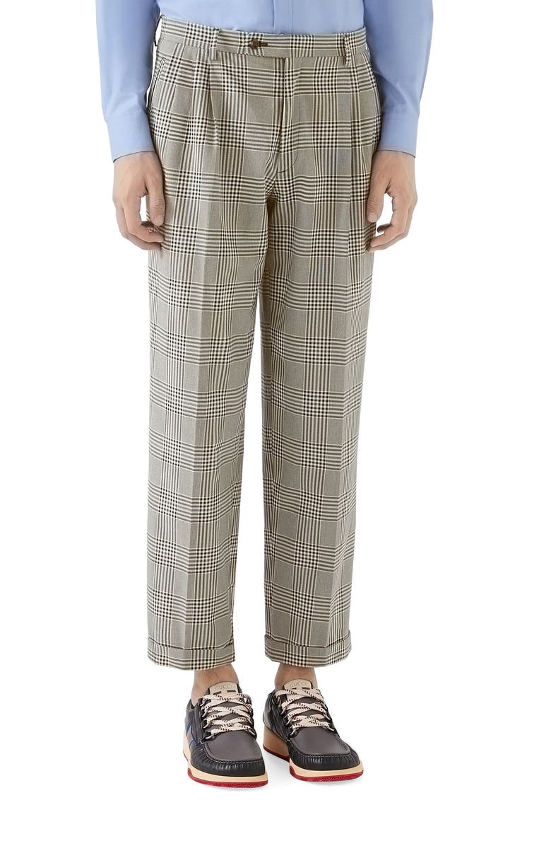 GUCCI Prince of Wales Cuff Crop Cotton Pants, Main, color, GREY/ BLACK