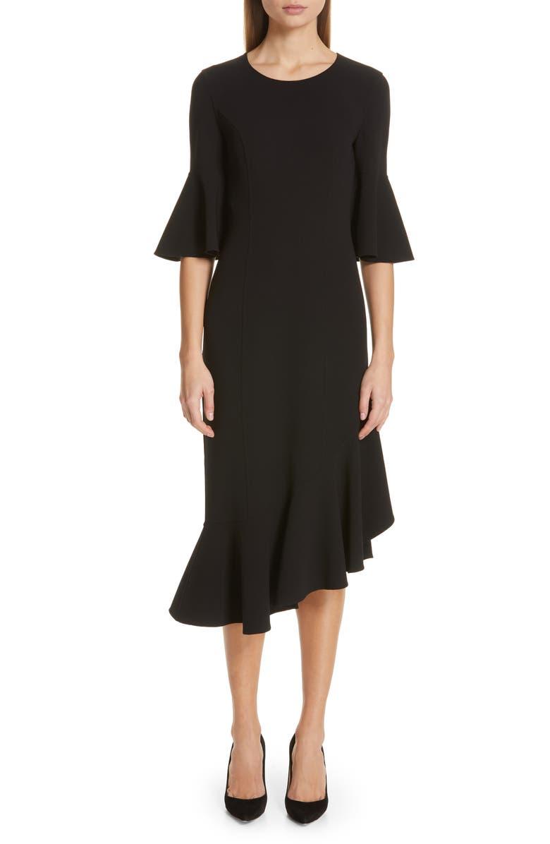 MICHAEL KORS Asymmetrical Bell Sleeve Sheath Dress, Main, color, BLACK