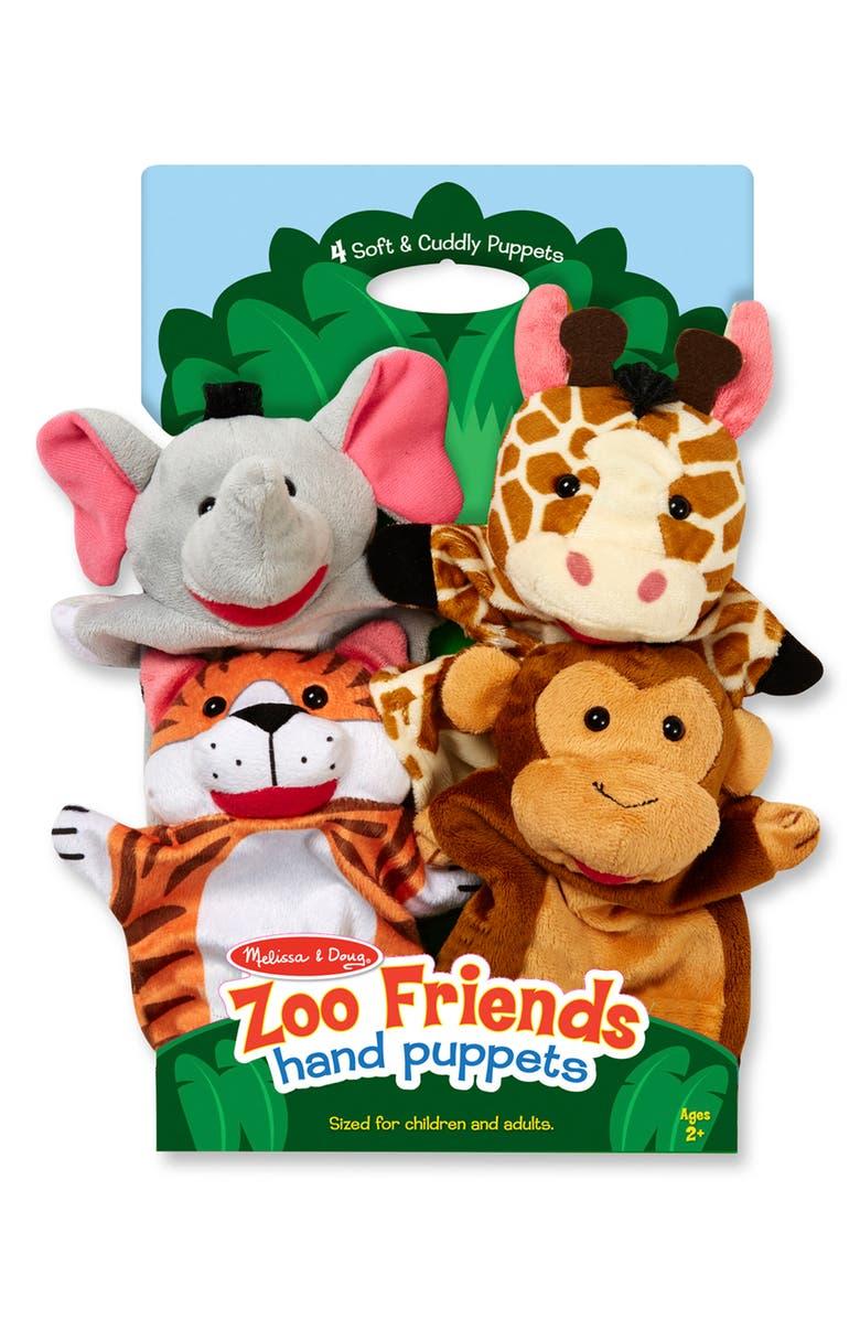MELISSA & DOUG Tabletop Puppet Theater & Zoo Animal Puppet Set, Main, color, MULTI