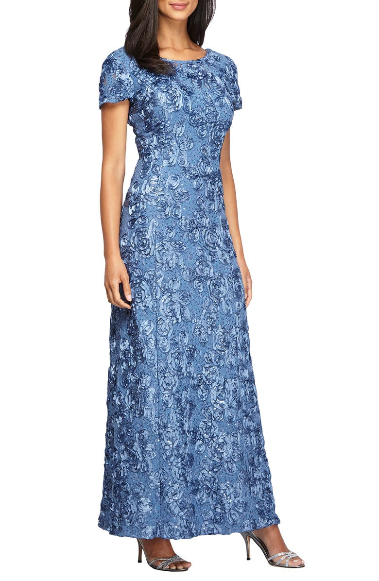 ALEX EVENINGS Embellished Lace Gown, Main, color, BRUSH PERIWINKLE