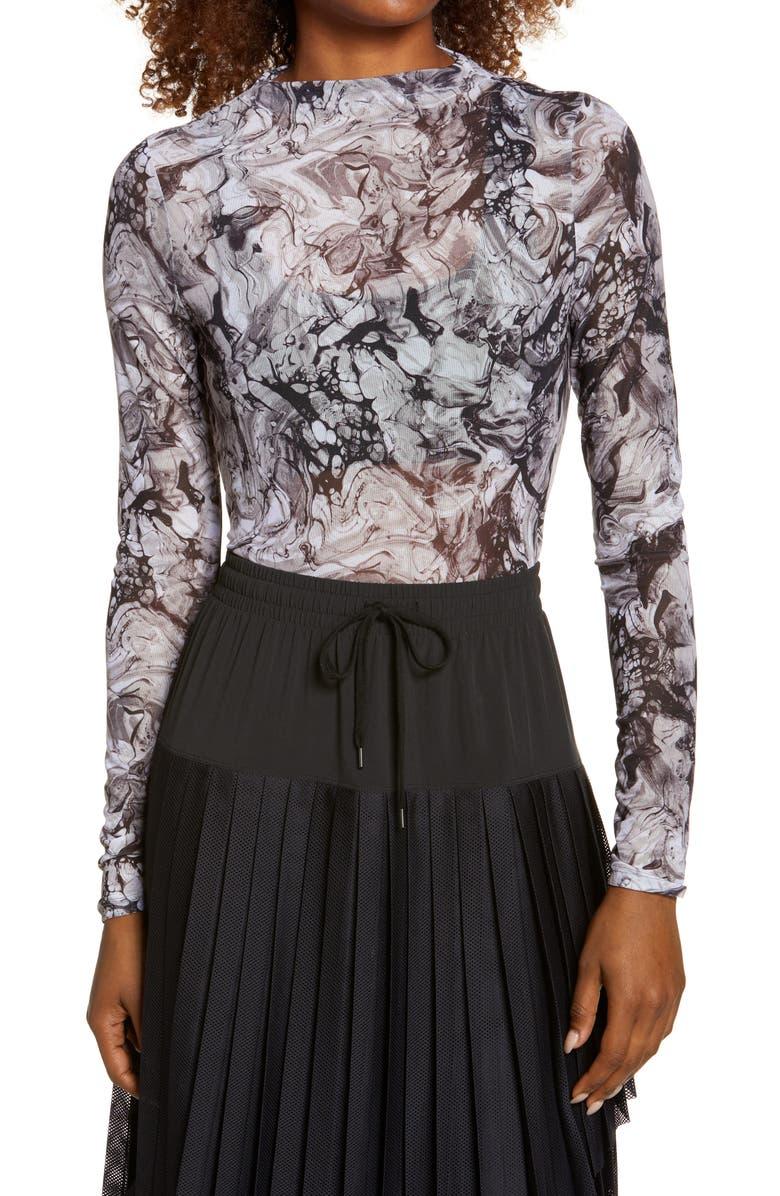 ZELLA Women's Sheer Luck Long Sleeve Mesh T-Shirt, Main, color, BLACK MARBELIZED PRINT