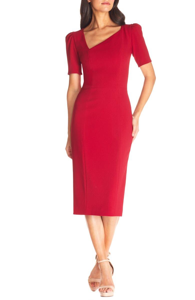 DRESS THE POPULATION Ruth Asymmetrical Neck Midi Dress, Main, color, GARNET