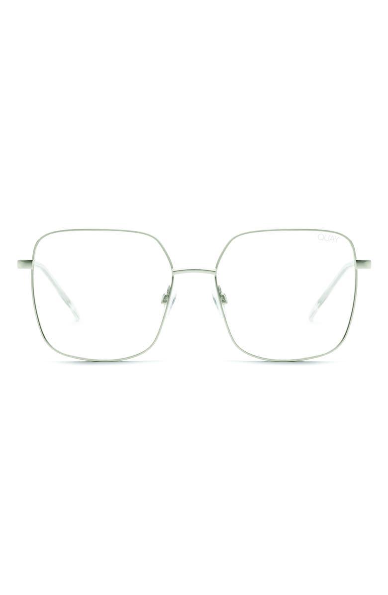 QUAY AUSTRALIA Cheat Sheet 58mm Blue Light Blocking Glasses, Main, color, SILVER/ CLEAR BLUE LIGHT