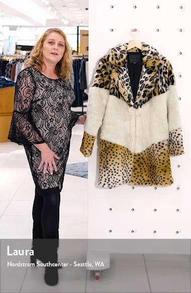 Weekend Vibes Mixed Print Faux Fur Coat, sales video thumbnail
