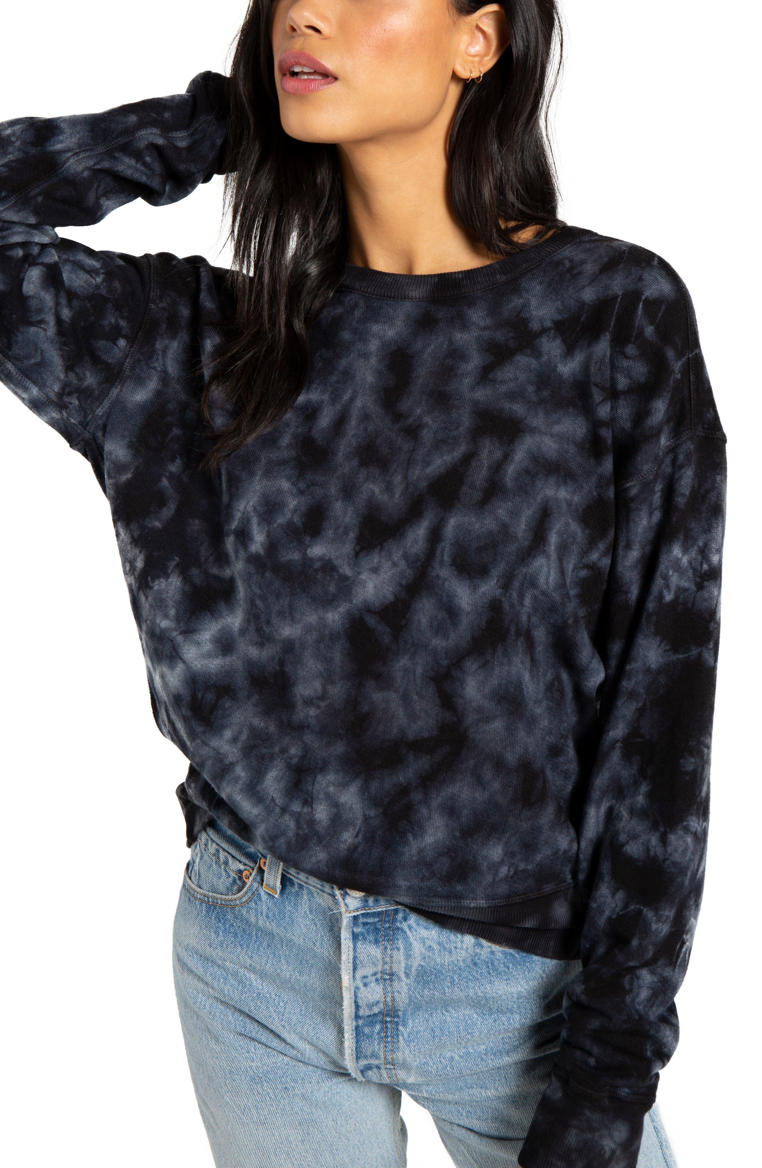 Lauren Tie Dye Pullover, Main, color, BLACK MULTI