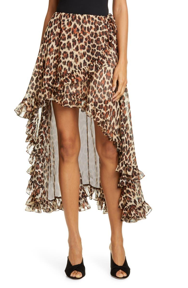 CAROLINE CONSTAS Adelle High/Low Silk Chiffon Skirt, Main, color, LEOPARD