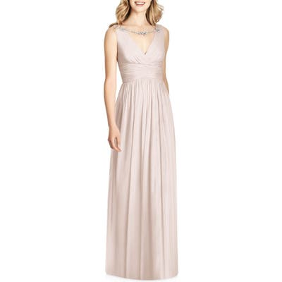 Jenny Packham Sleeveless Sparkle Neck Chiffon Gown, Pink