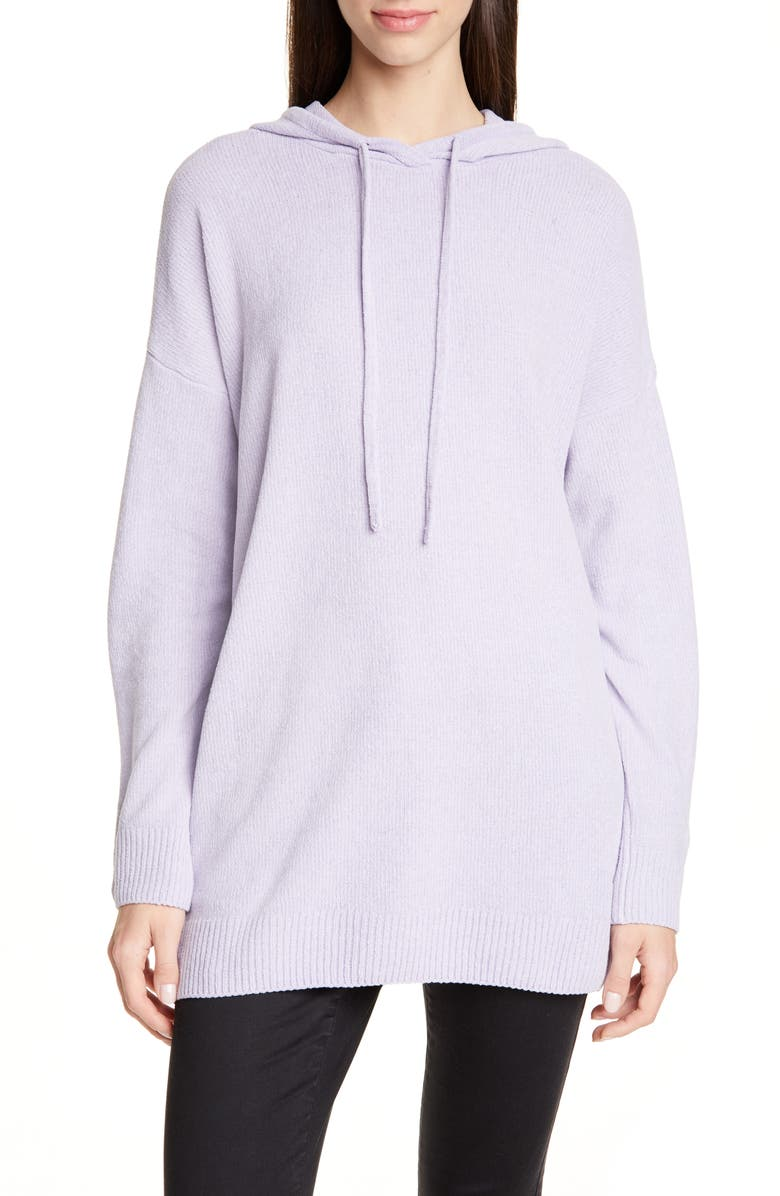 EILEEN FISHER Hooded Organic Cotton Chenille Tunic, Main, color, WISTERIA