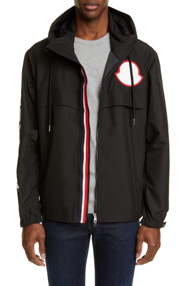 MONCLER Montreal Hooded Windbreaker Jacket, Main, color, BLACK