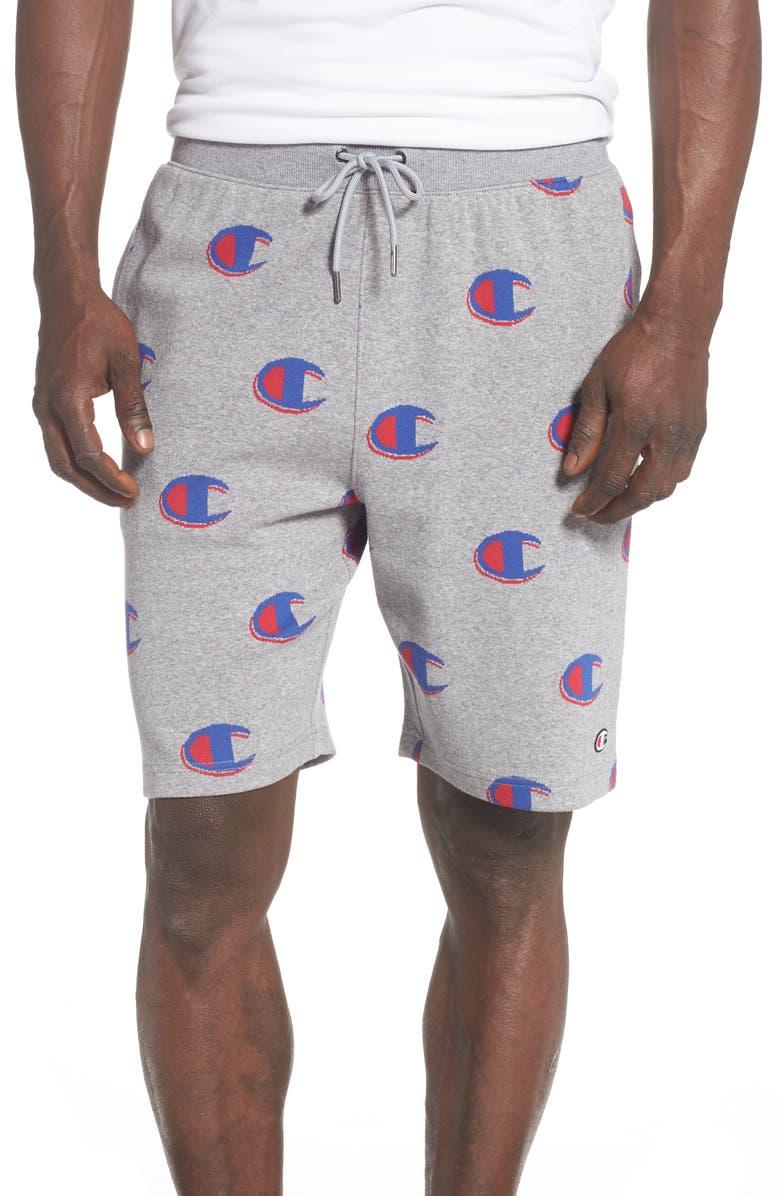 CHAMPION Logo Jacquard Cotton Shorts, Main, color, OXFORD GREY/ SURF THE WEB