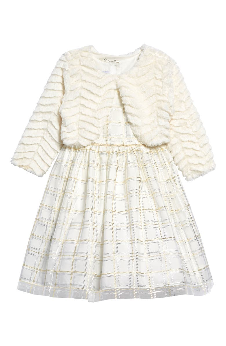 PIPPA & JULIE Glitter Plaid Fit & Flare Dress with Faux Fur Jacket, Main, color, IVORY