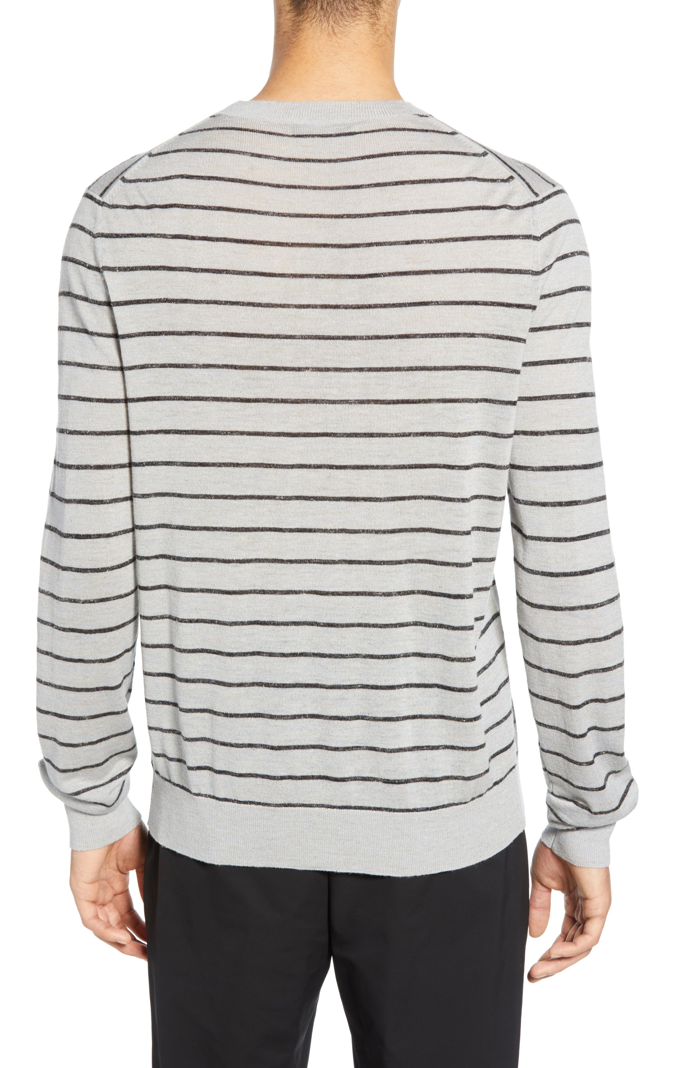 ,                             Stripe Crewneck Wool & Linen Sweater,                             Alternate thumbnail 2, color,                             HEATHER LIGHT MED GREY/ BLACK