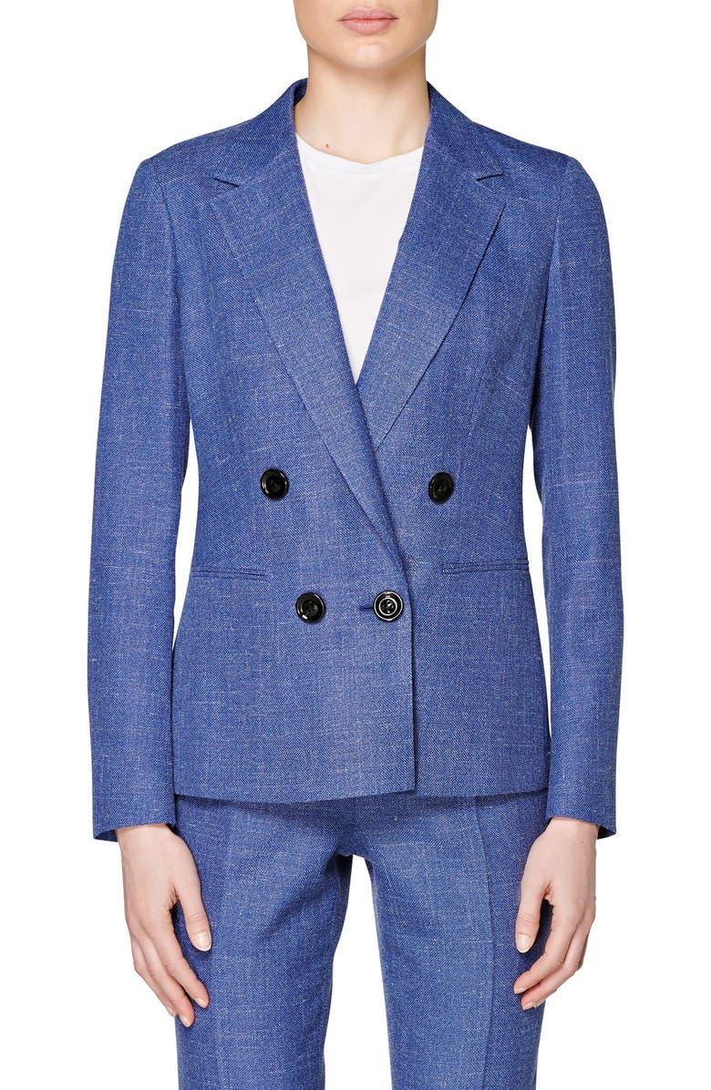 SUISTUDIO Joss Double Breasted Wool Blend Suit Jacket, Main, color, BLUE