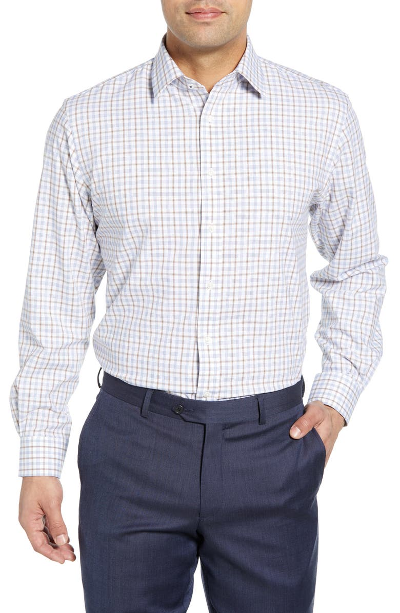 NORDSTROM MEN'S SHOP Tech-Smart Traditional Fit Plaid Stretch Dress Shirt, Main, color, BROWN OTTER