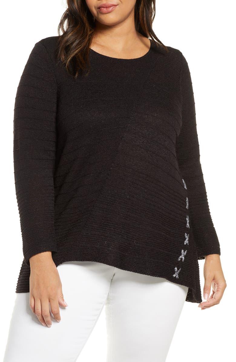 NIC+ZOE Cross Stitch Sweater, Main, color, 004