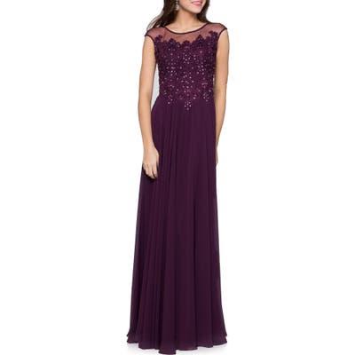 Marsoni Illusion Embellished Lace & Chiffon Gown, Purple