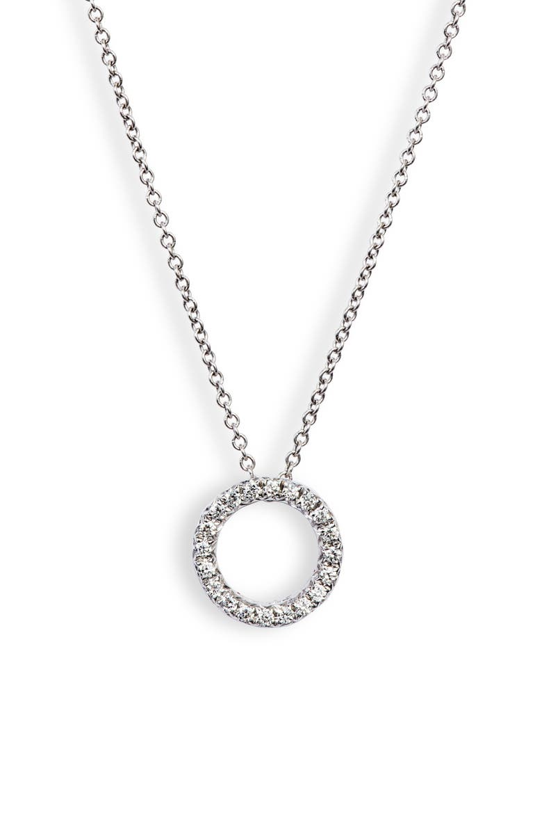 BONY LEVY 20th Anniversary Pavé Diamond Circle Necklace, Main, color, WHITE GOLD/ DIA