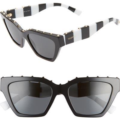 Valentino 5m Rockstud Cat Eye Sunglasses - Black Grey/ Smoke Solid