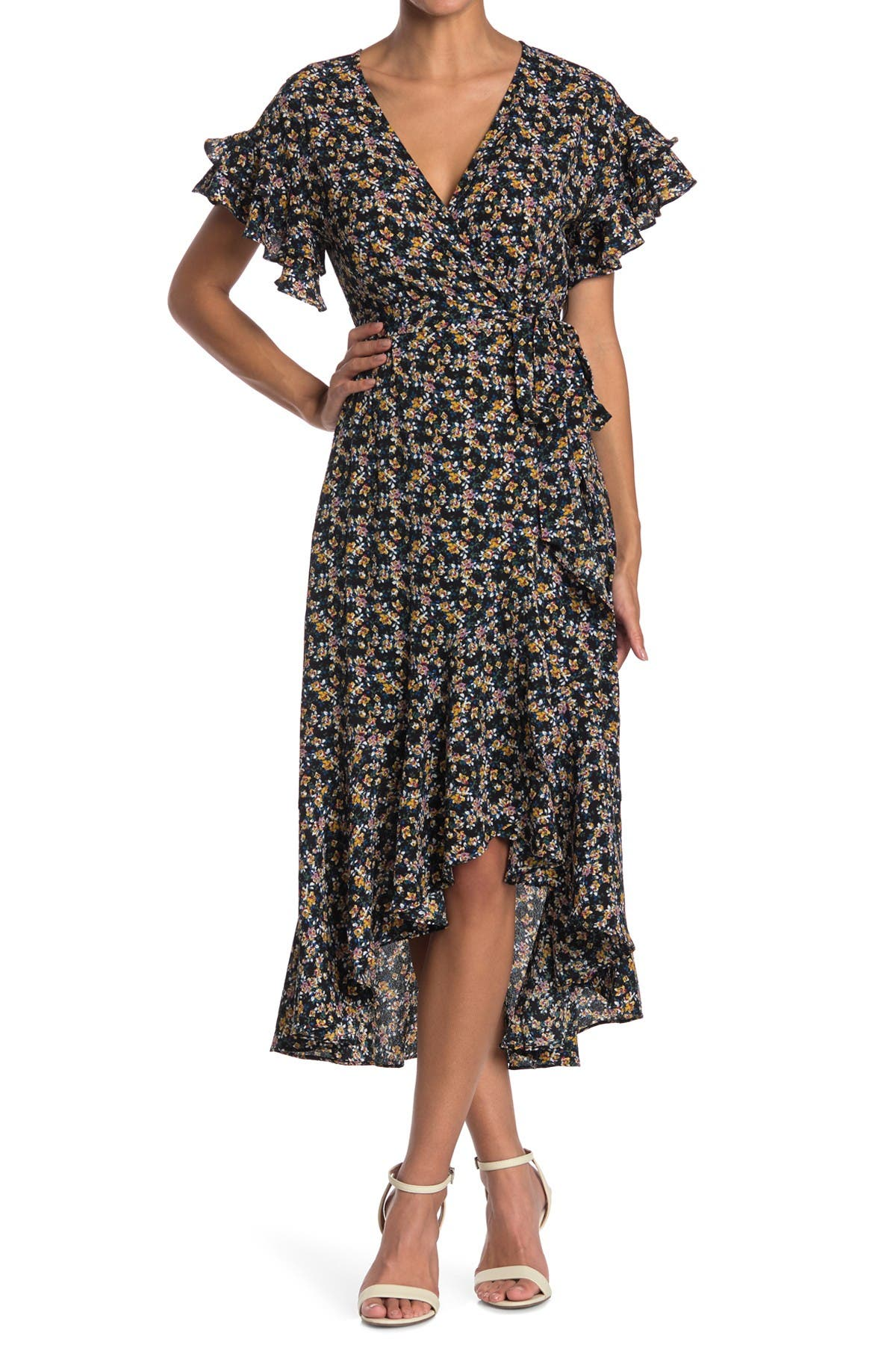 Image of Max Studio Ruffle Crepe High/Low Wrap Midi Dress