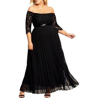 Plus Size City Chic Intriguing Off The Shoulder Lace Bodice Maxi Dress, Black
