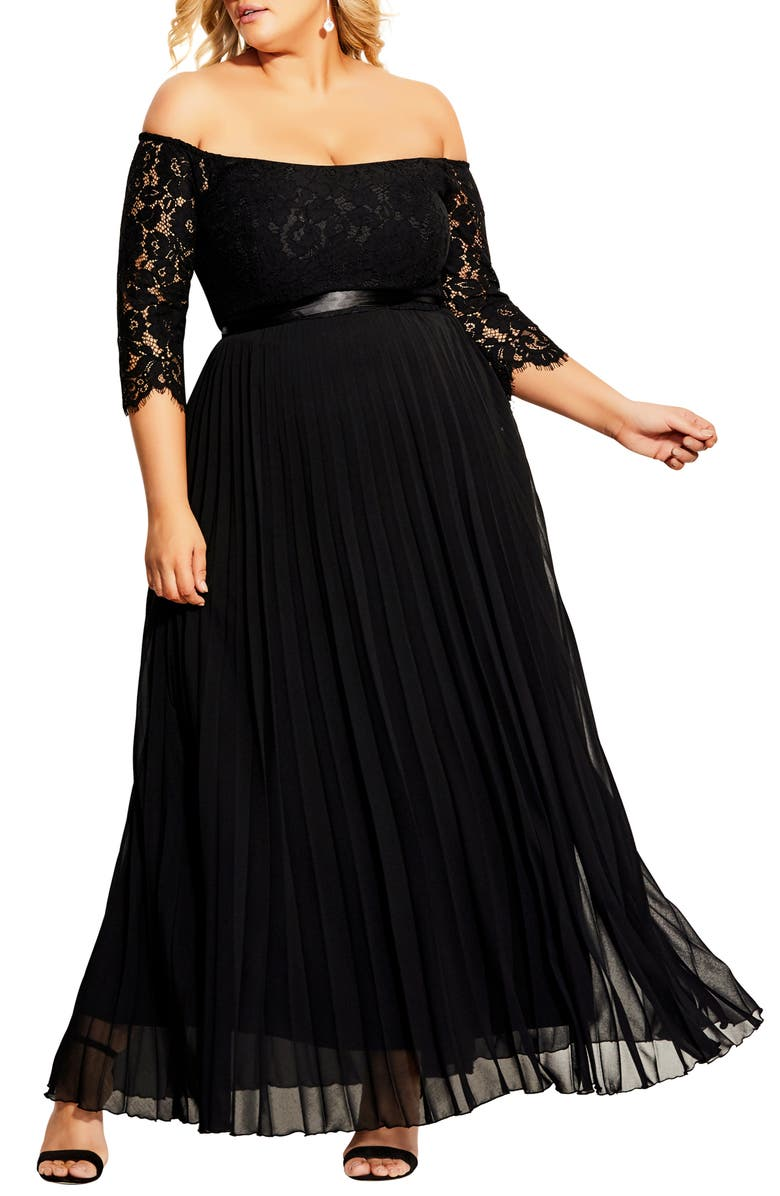CITY CHIC Intriguing Off the Shoulder Lace Bodice Maxi Dress, Main, color, BLACK
