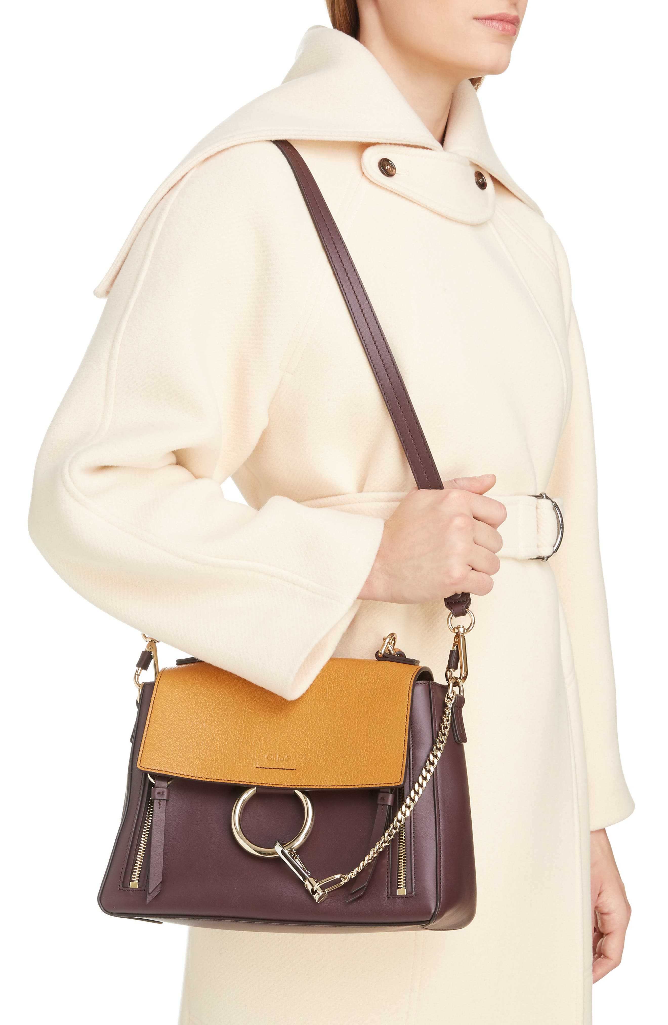 ,                             Small Faye Day Leather Shoulder Bag,                             Alternate thumbnail 2, color,                             PURPLE/ BROWN