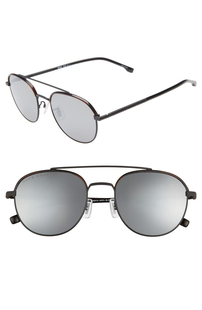 BOSS 55mm Round Sunglasses, Main, color, MATTE BLACK