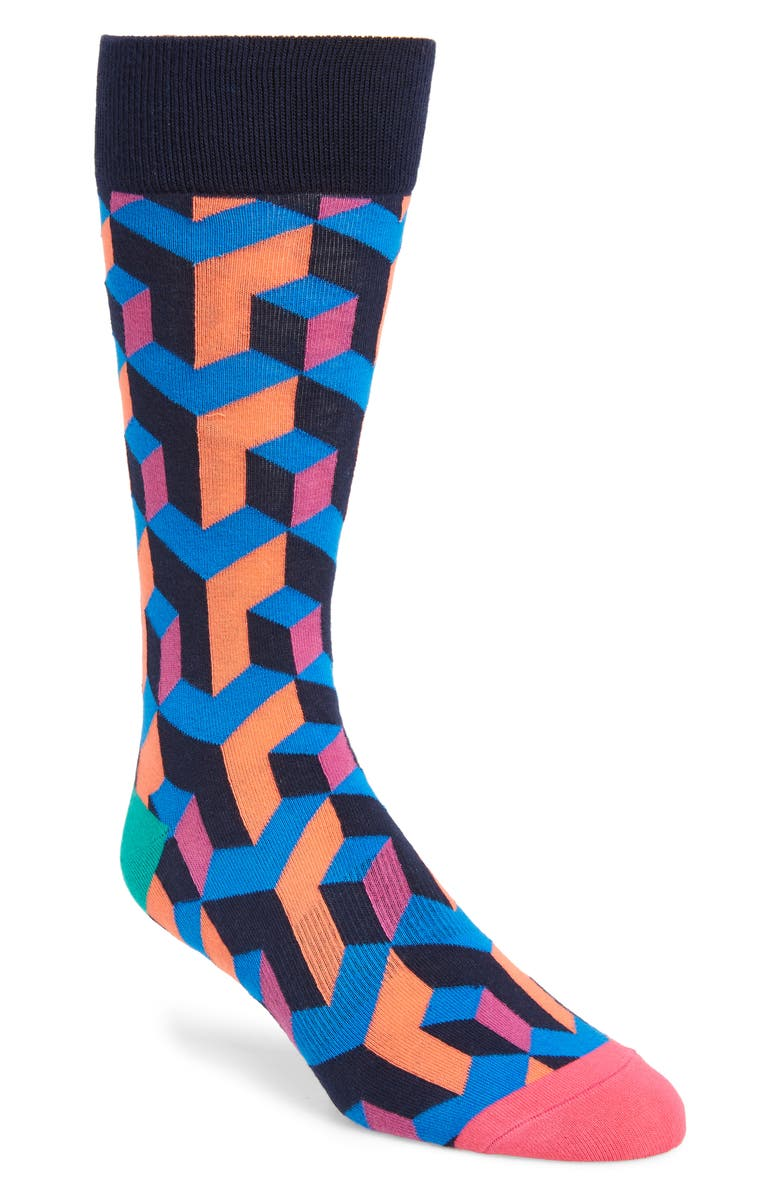 FUN SOCKS Illusionist Socks, Main, color, BLUE MULTI