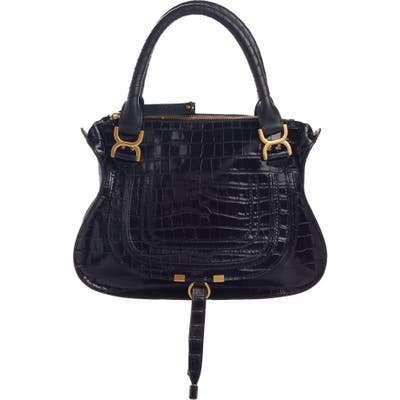 Chloe Medium Marcie Croc-Embossed Leather Top Handle Bag - Blue
