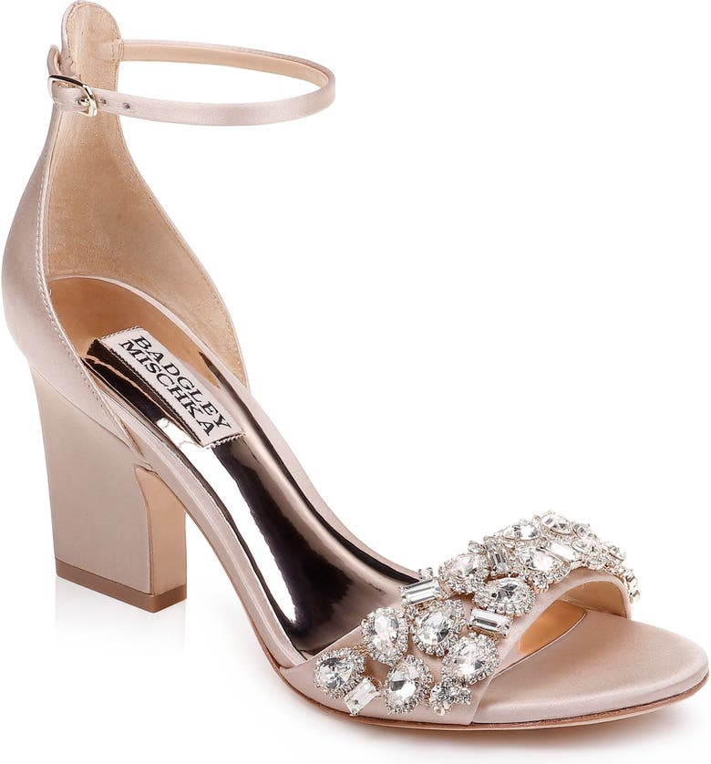 BADGLEY MISCHKA COLLECTION Badgley Mischka Laraine Embellished Ankle Strap Sandal, Main, color, NUDE SATIN