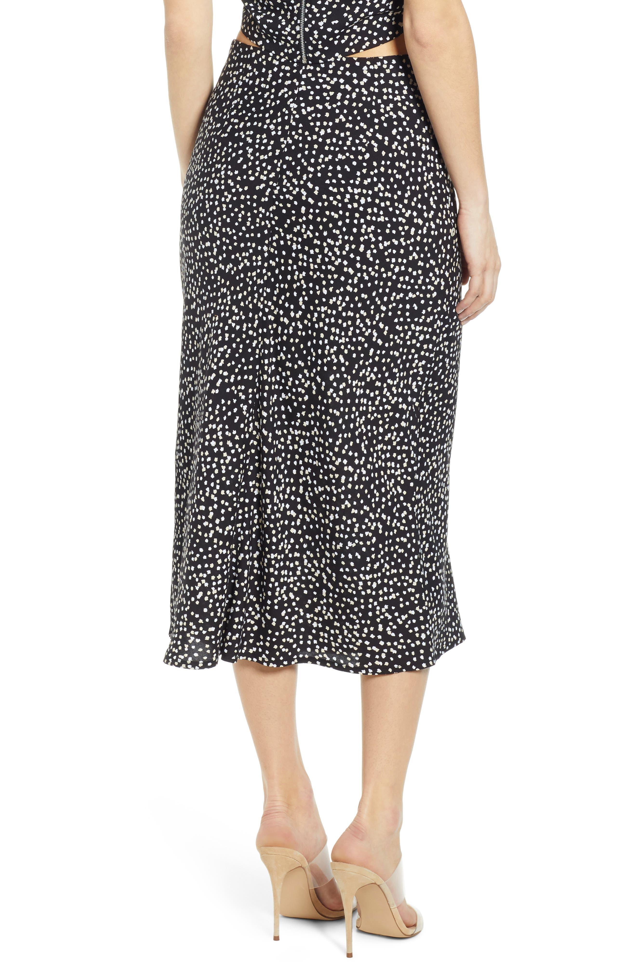 ,                             Button Side Midi Skirt,                             Alternate thumbnail 2, color,                             BLACK CINDY PRINT