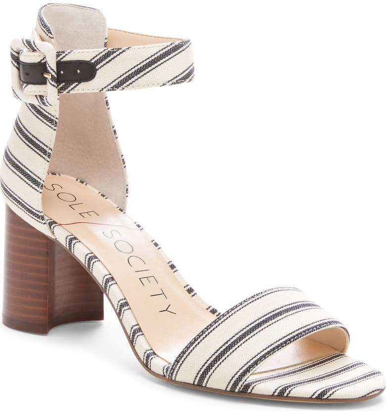 SOLE SOCIETY Helgah Ankle Strap Sandal, Main, color, CREAM BLACK FABRIC