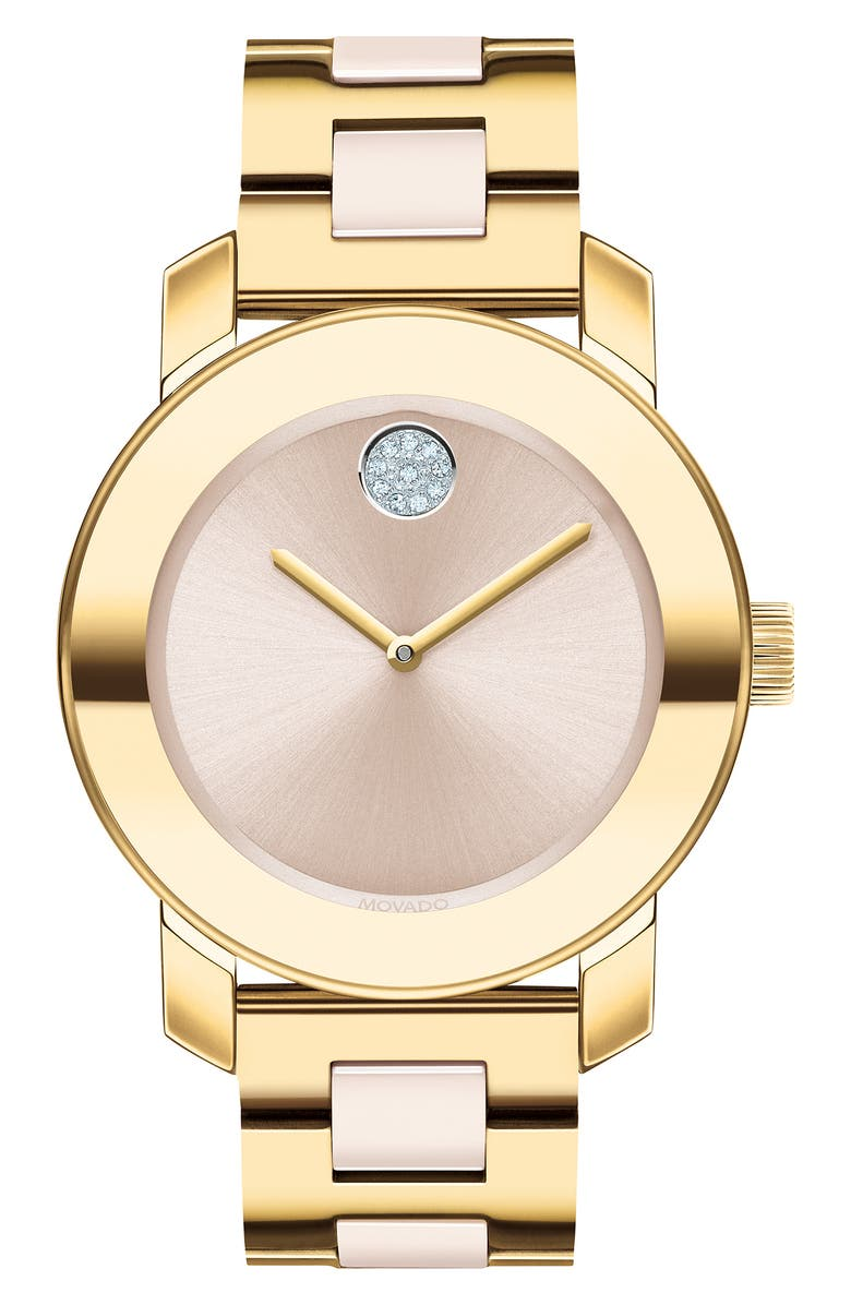 MOVADO Bold Pavé Dot Ceramic Bracelet Watch, 36mm, Main, color, GOLD/ BEIGE/ GOLD
