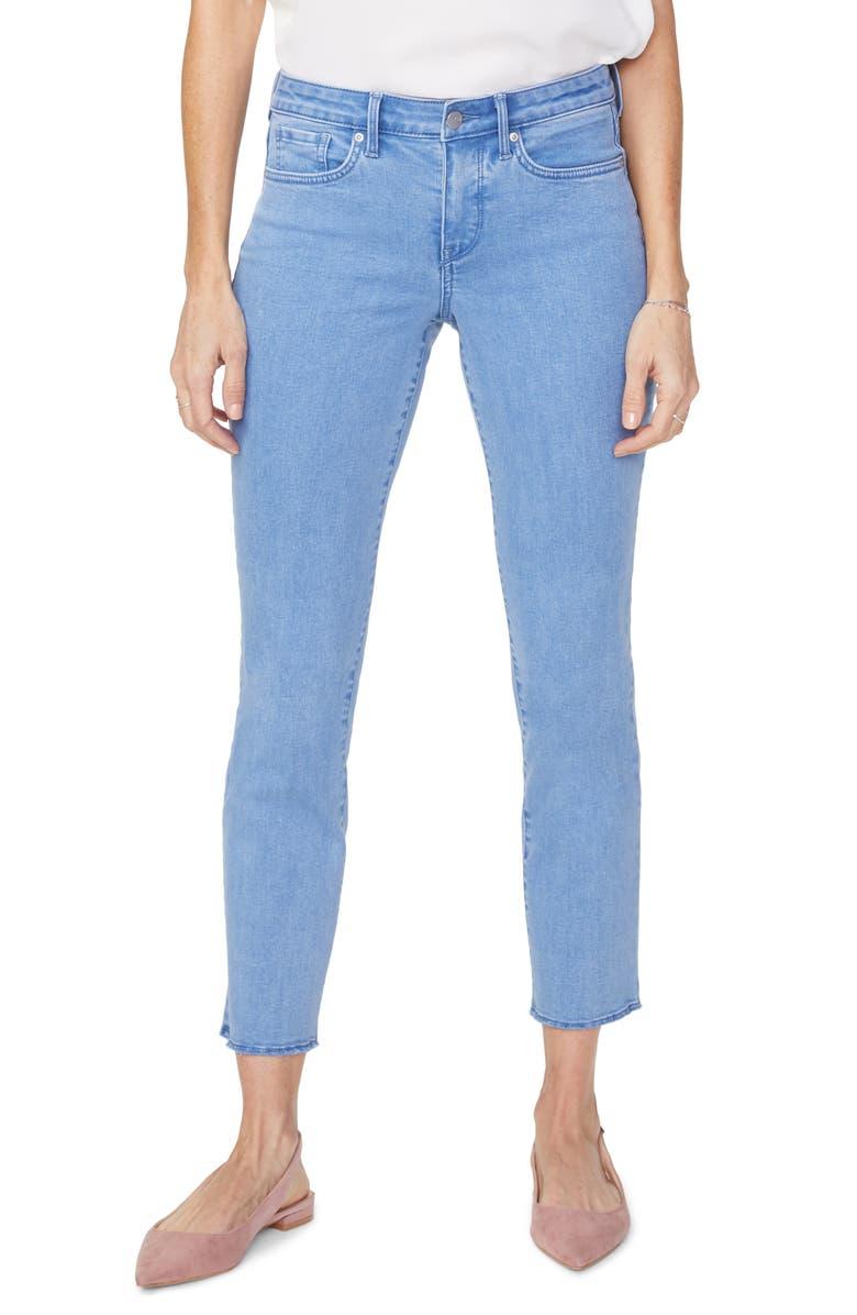 NYDJ Sheri Raw Hem Slim Ankle Jeans, Main, color, BELLE ISLE