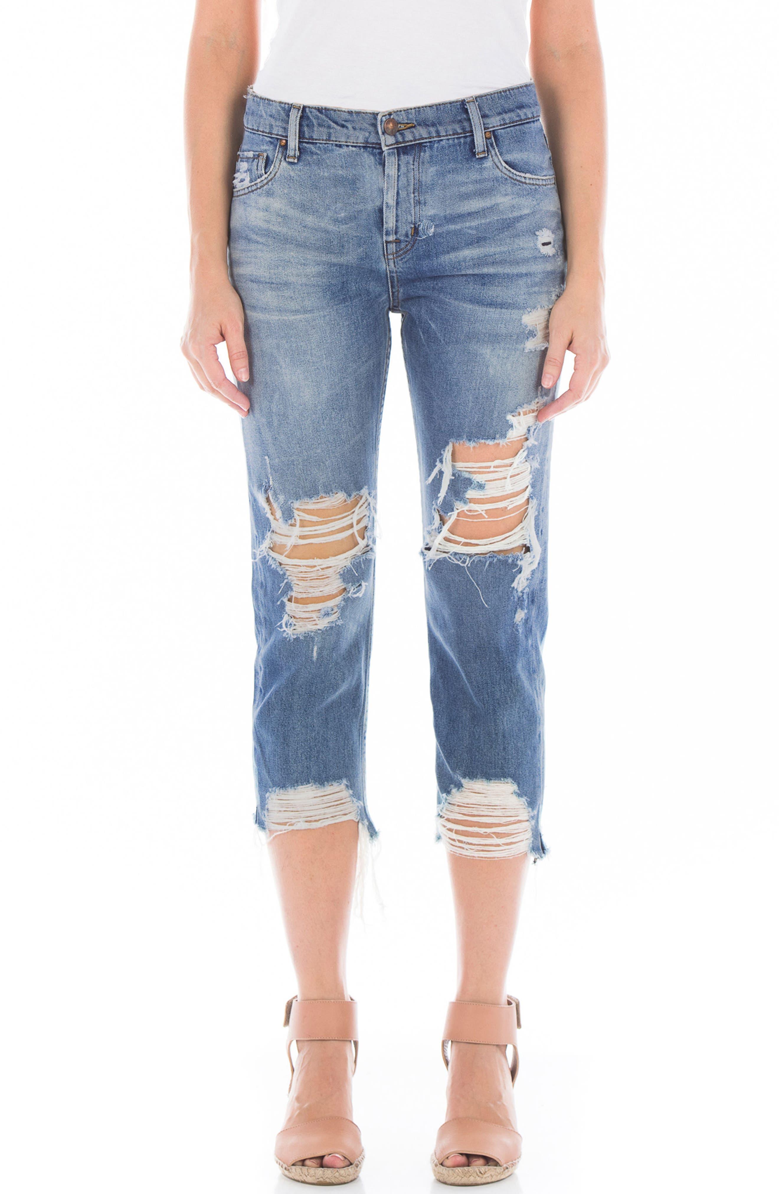 Image of FIDELITY DENIM Dee Dee Distressed Shredded Cropped Jeans