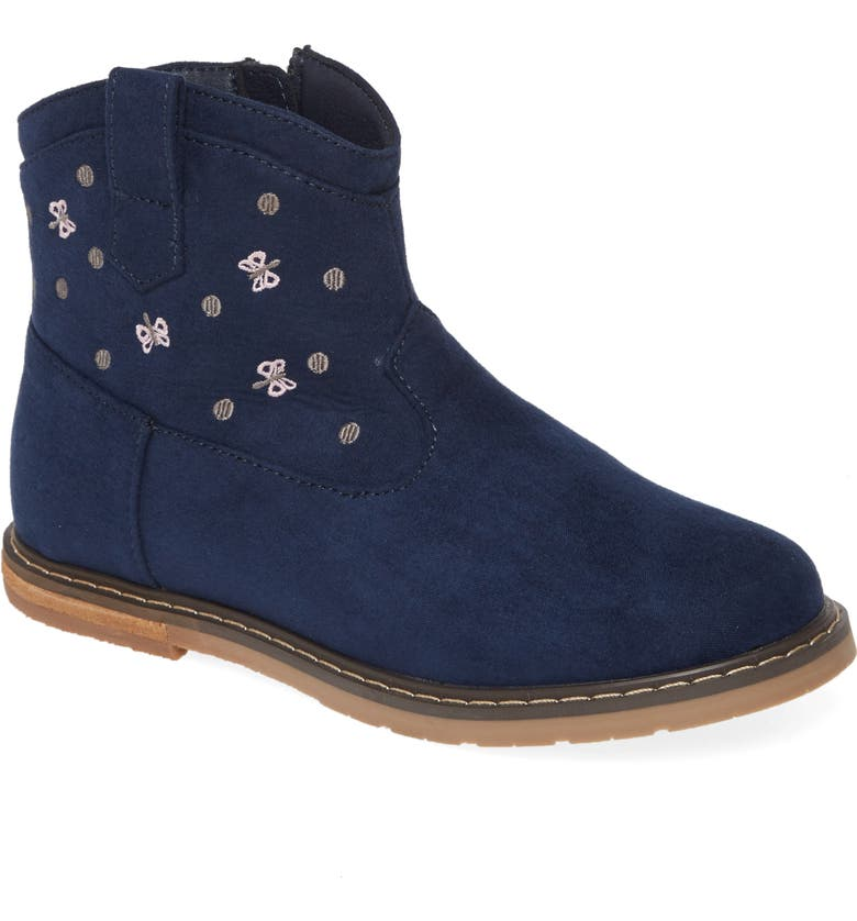 TUCKER + TATE Embroidered Western Bootie, Main, color, NAVY FAUX SUEDE