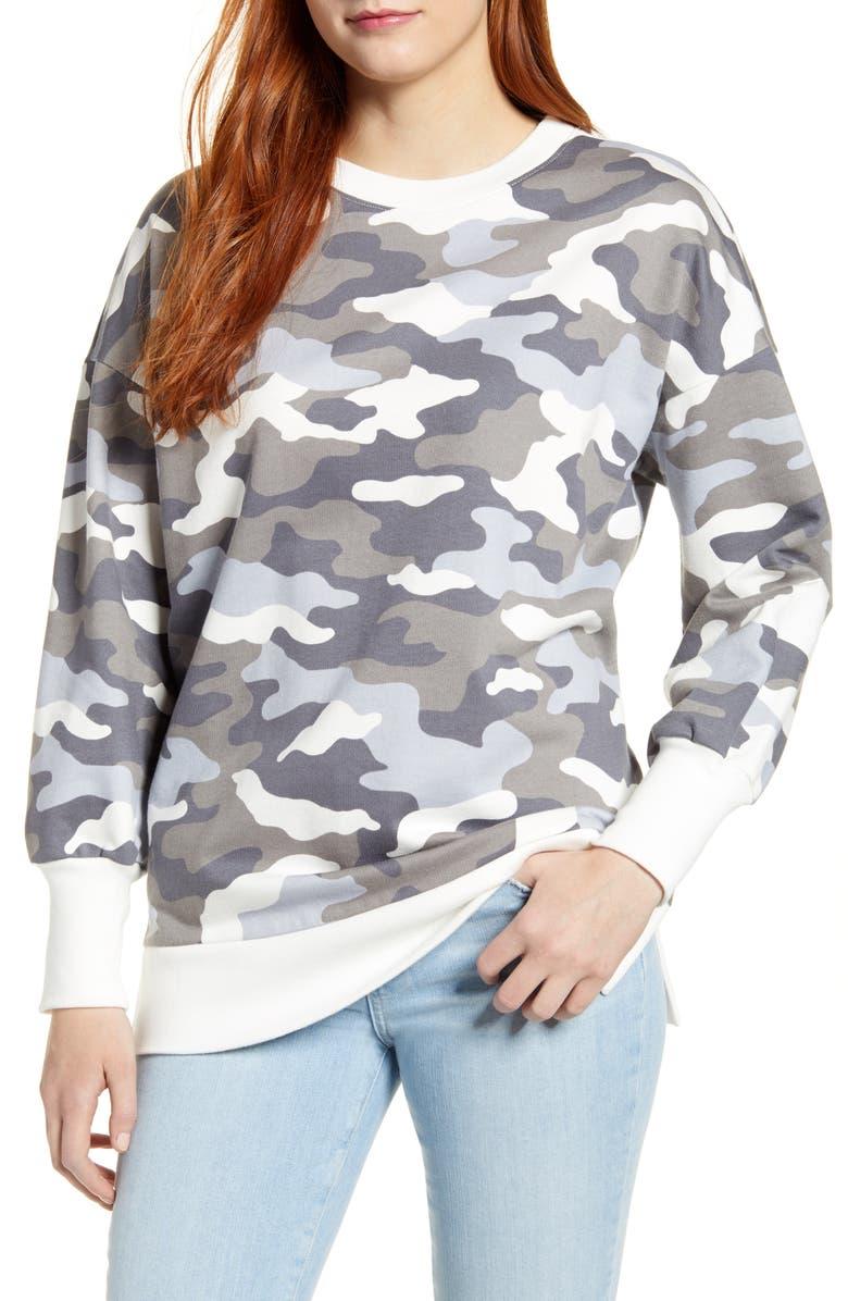 CASLON<SUP>®</SUP> Side Slit Cotton Sweatshirt, Main, color, GREY- IVORY PRINTED CAMO