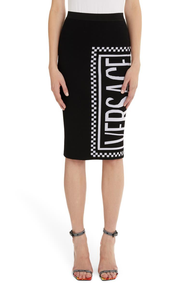 VERSACE FIRST LINE Versace Logo Knit Skirt, Main, color, 001